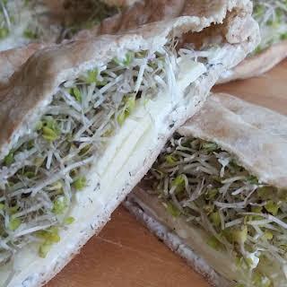 Cheese & Sprout Pita Pocket Sandwich.