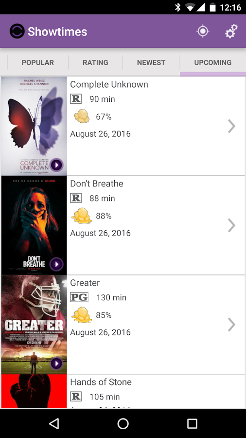Showtimes- screenshot