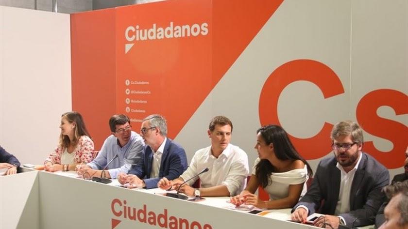 El Comité Ejecutivo Nacional de Cs, presidido por Albert Rivera.
