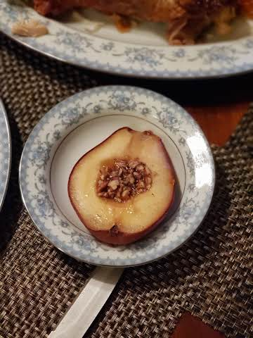 Bourbon Maple Syrup Baked Pears