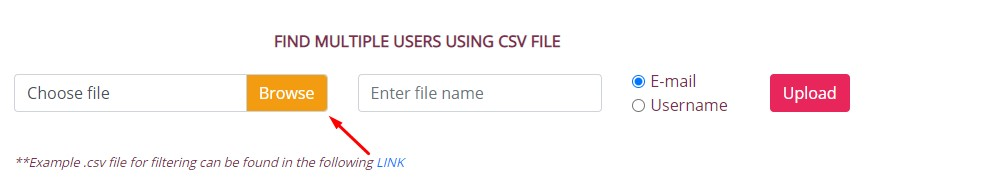 To upload a file select Browse and find your list of emails.