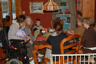 Photo: A birthday celebration for my step-daughter Annie.  Left to right, Cass is on me, Annie, Joshua, Marie (Annie's mother) and my sister-in-law Pierrette.  Cindy is at the head of the table.