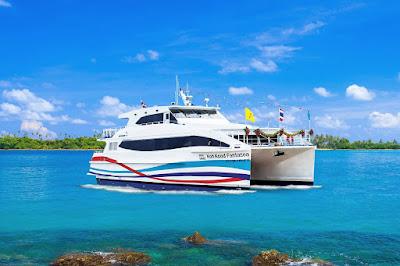 Travel from Koh Mak to Koh Chang by Boonsiri high speed catamaran
