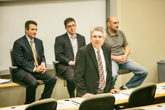 Photo: Owen hosted a panel discussion January 31 about military veterans transitioning into business careers. Panelists included Chris Baxley (MBA '07), a former Army Field Artillery Officer who is now a Vice President at CMP Healthgrades; Dennis Howie, (EMBA '99), a former Army Officer who is now a Vice President at Goldman Sachs; and Jason LeBlanc, a former Air Force Officer who is a corporate recruiter for Amazon.com. (Vanderbilt Photo / Daniel Dubois)
