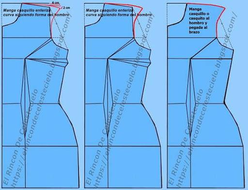 Trazo de manga casquillo o casquito enteriza sigue la forma del hombro y el brazo
