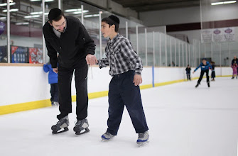 Photo: CENTENNIAL, CO. DECEMBER 25: Rabbi Gadi Levy, left, is ice skating with his son Shimshy Levy, 9, at the the South Suburban Sports Center in Centennial, Colorado on December 25, 2013. For the fourteenth year, the Denver Community Kollel Women's Division is offering a Jewish Family Extravaganza of family fun and entertainment.  (Photo by Hyoung Chang/The Denver Post)
