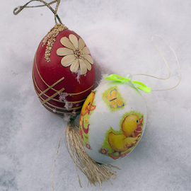 colorful easter eggs in the snow by LADOCKi Elvira - Public Holidays Easter ( holiday, eggs, easter, colorful, color, easter decorations, easter eggs, decorations, glowing )