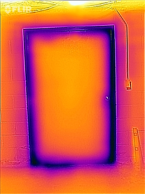 This is what a leaky door looks like with an infrared camera.