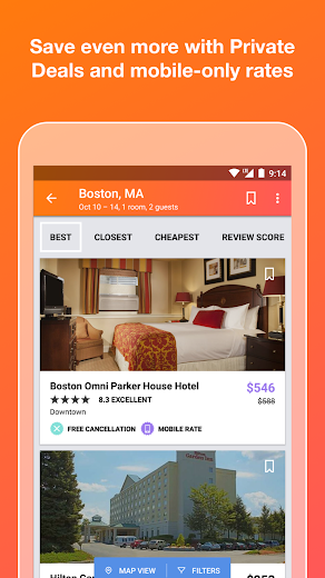 Screenshot 1 for Kayak's Android app'
