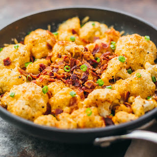 Roasted Cauliflower With Cheese And Bacon.