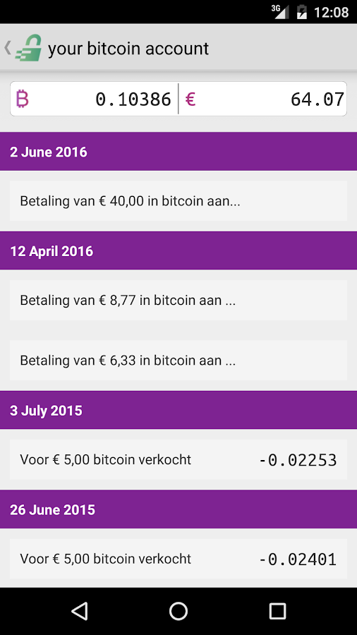 Bitmymoney Bitcoin account- screenshot