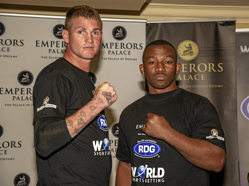 Thomas 'Tommy Gun' Oosthuizen with Thabiso 'The Rock' Mchunu during Golden Gloves press conference at Emperors Palace yesterday.