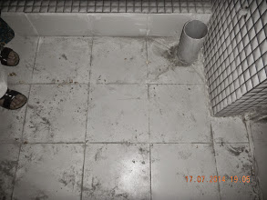 Photo: FF LHS Bathroom - can see a scratch on tile. How will that be removed. ??- D-41, P-3, GNOIDA. Builder : Nanak Builders, Mr. Virender Batra