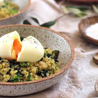 Soft Boiled Egg on Quinoa, Spinach and Shallot - Conventional Method Recipe