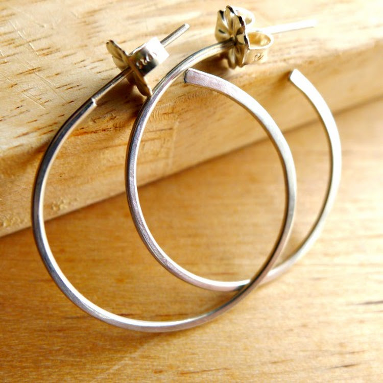 (NEW) Medium Size Sterling Silver Hoops by Heavenly Gems