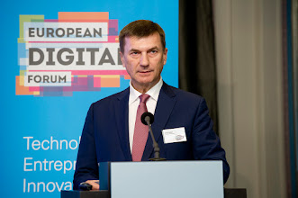 Photo: Andrus Ansip, vice-president of the European Commission for the digital single market, delivers The 2015 Guglielmo Marconi Lecture