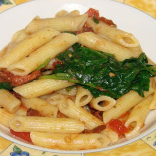 Penne Pasta with Spinach and Bacon.