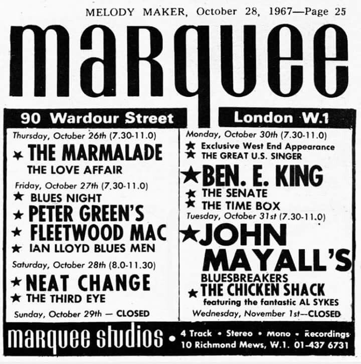 Marquee Clubin keikkamainos 28.10.1967