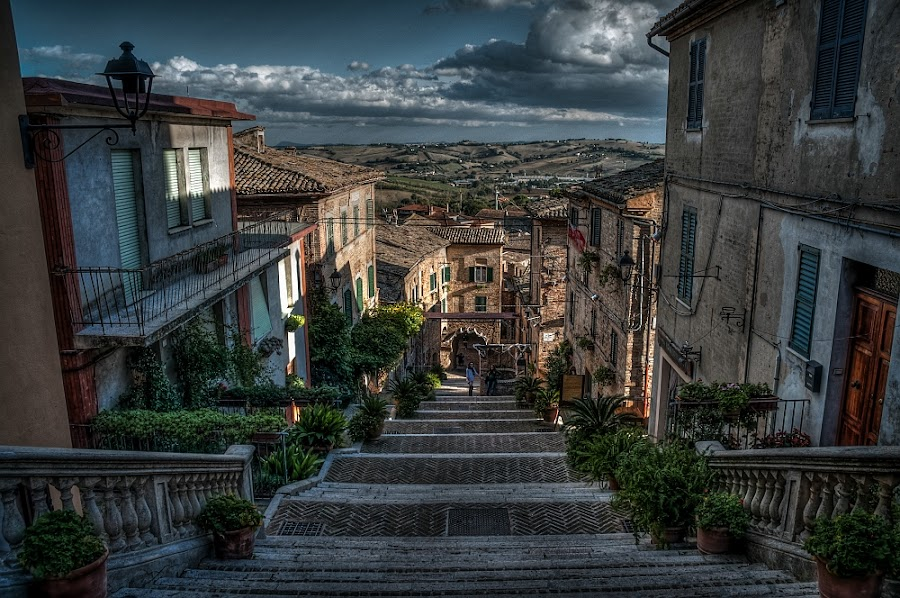 the stairs.... by Frans Scherpenisse - City,  Street & Park  Historic Districts ( stairs, town )