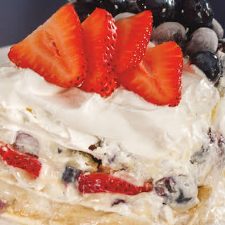 Strawberry and Blueberry Cheesecake.