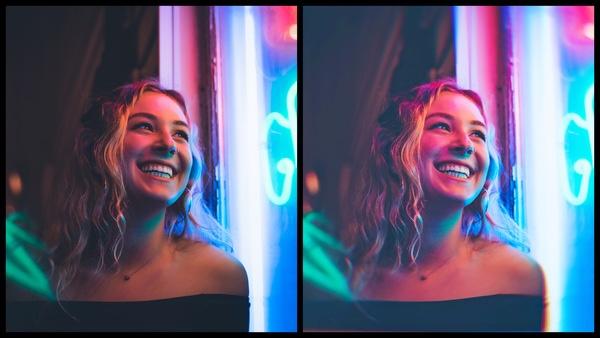 antes e depois da edição da foto onde uma foto está mais iluminada que a outra