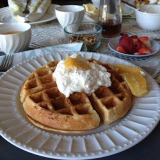 Orange Yogurt Waffles with Orange Whipped Cream.