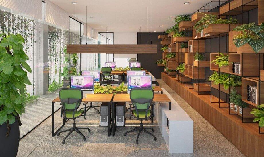 Thiết kế nội thất văn phòng tại nơi có nhiều cây xanh
