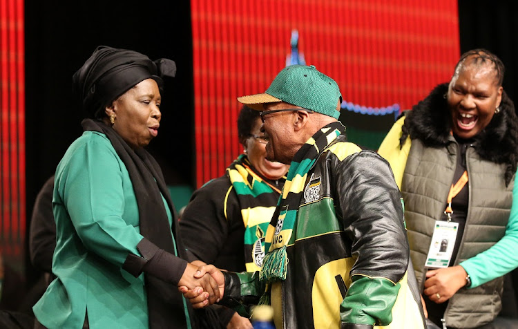 Jacob Zuma greets Nkosazana Dlamini-Zuma at the ANC's policy conference on June 30 2017. Picture: SUPPLIED
