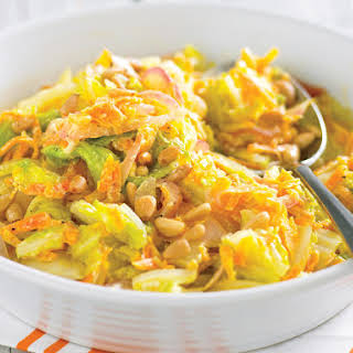 Sautéed Cabbage and Carrots with Pine Nuts.