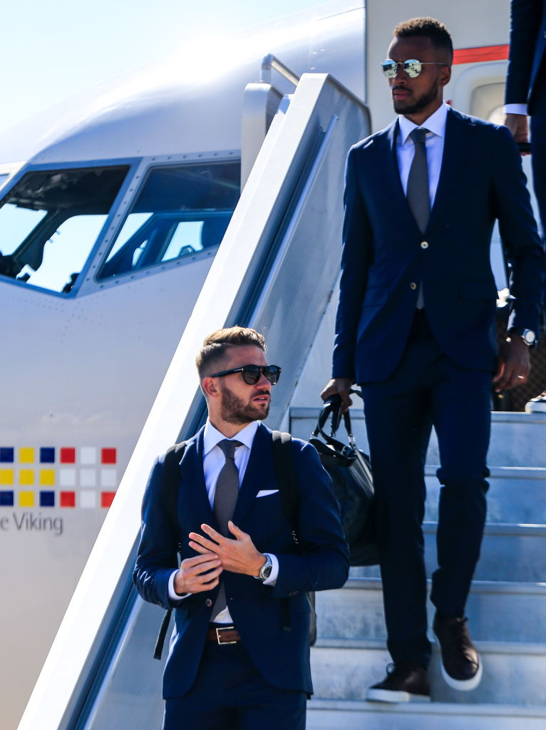 Marcus Rohden (left) and Issac Kiese Thelin of the Swedish national soccer team are welcomed at Russia's Gelendzhik Airport ahead of the 2018 FIFA World Cup.