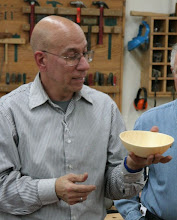 Photo: Mike Colella presents his white pine bowl...