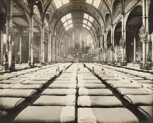 Beds laid out in the Great Hall