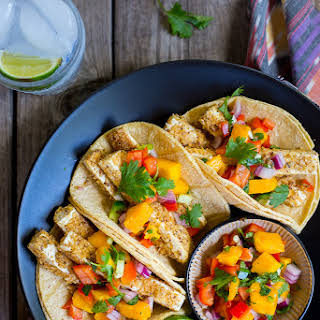 Tortilla Chip Crusted Tofu Tacos with Mango Salsa.