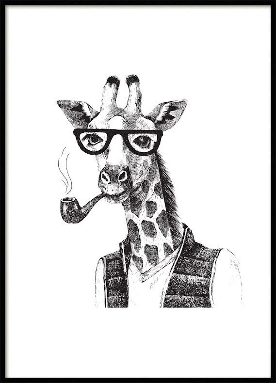 Hipster Giraffe Kids poster