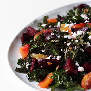 Extra Nutritious Red Kale Salad with Beets, Blood Oranges & Preserved Lemon Dressing