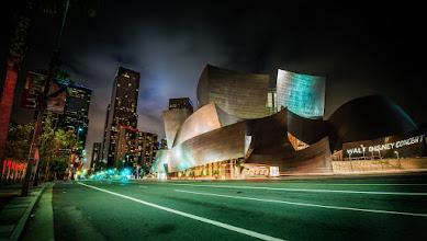 Photo: The Walt Disney Concert Hall at night...  Another matrix-like night in LA...