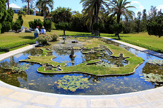 Photo: This park is part of the National Trust and although in a private garden is open to the public. In the pond is a map of the island of Bermuda.