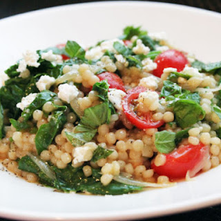 Skillet Pearled Couscous with Tomatoes, Feta, and Spinach