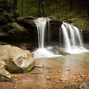 Debord Falls by Angela Moore - Landscapes Waterscapes ( water, waterfall, moss, rocks, pwccoins-dq )