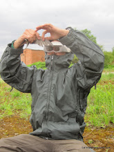 Photo: Checking for parasites, and bundled up so the mosquitos can't get me