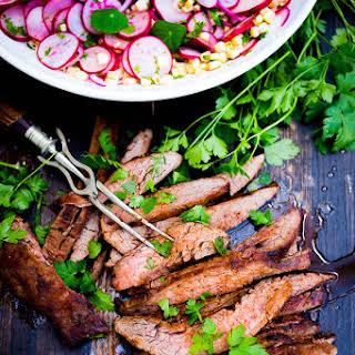 Grilled Flank Salad with Corn Radish Salad.