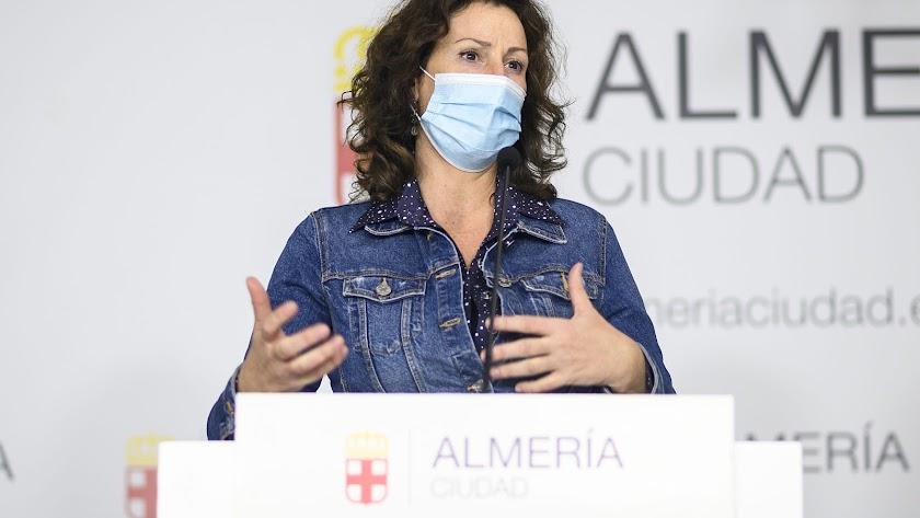 Rueda de prensa de María Vázquez, en una imagen de archivo.