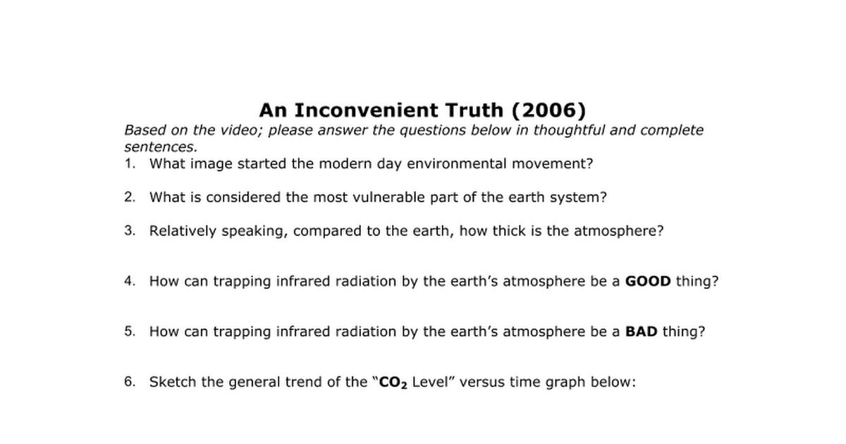 An Inconvenient Truth Qs revised Google Docs – An Inconvenient Truth Worksheet