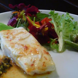 Roasted Halibut With Yuzu Passionfruit Sauce