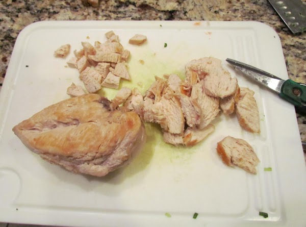 Brown the 2 chicken breast in the olive oil...remove from skillet and cut into...