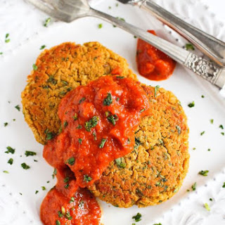Baked Curry Lentil Cakes with Roasted Red Pepper Sauce.