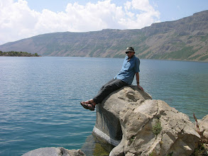Photo: Mick and the volanic lake ontop of the other Mt. Nemrut