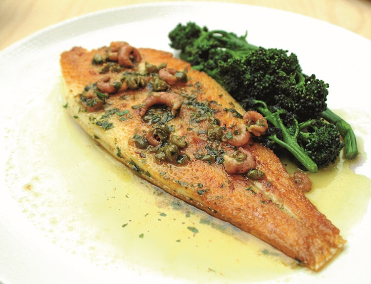 A gentle dish. Pan roasted lemon sole, shrimp and caper butter. Picture: SUPPLIED
