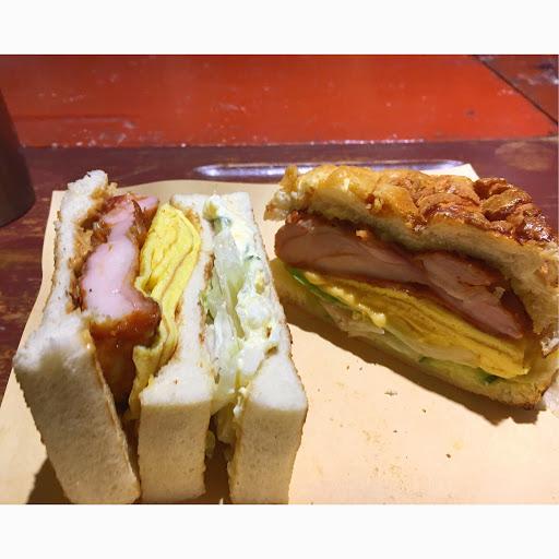 雞排總匯三明治加花生醬 雞排起司蛋烤波蘿包 雞排夠味 蛋嫩 薯泥沙拉爽口