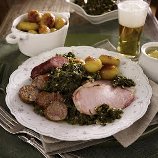 Pork Chops with Sausage and Kale.